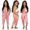 Leisure Women Stripe Drawstring Condole Belt Jumpsuit MTY6138