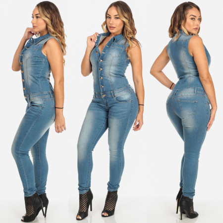 Women Casual Jeans Sleeveless Tight Jumpsuit JLX8697
