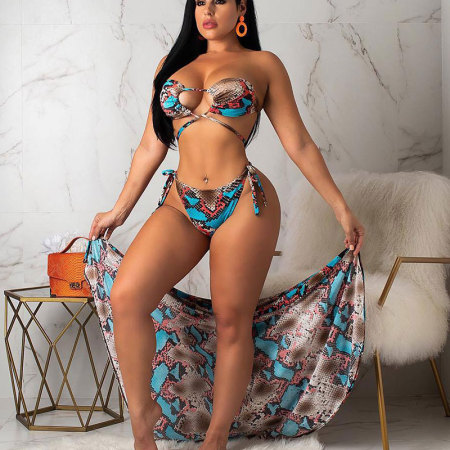 Blue Snake Print Sexy 3pieces  Bikini Sets With Cover Ups R6165