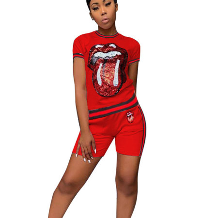 Red Sequins Print T Shirts Midi Shorts Two Pieces Sets CM566