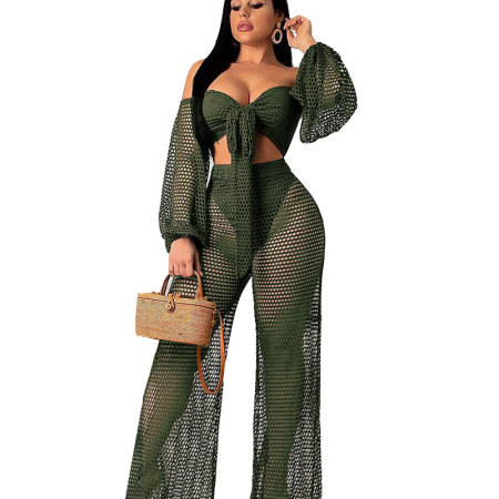 Army Green See Through Sexy Suits Strapless Top Wide Leg Pants SN3509