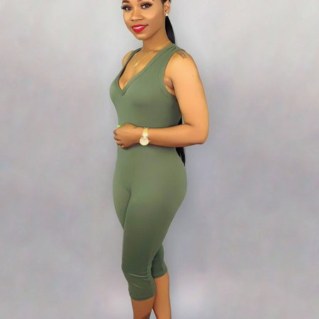 Green Solid Tank Tops Bodycon Jumpsuits SN3555