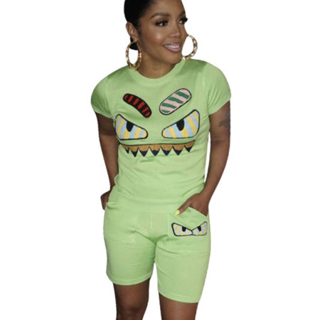 Green Casual Fashion Cartoon Print Plus Size 3XL Sports Outfits H1139