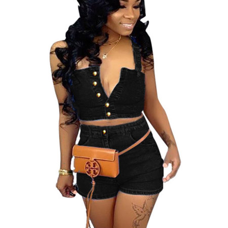 Black Strappy Crop Tops Jeans Shorts Two Pieces Sets Women MA6170