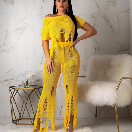 Wholesale Sale Plain Yellow Ripped Pants Sets BN9169