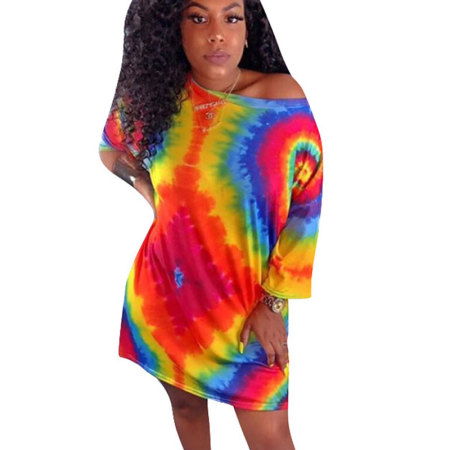 Red Leisure Wear Colorful Print Loose T Shirts Midi Dress CM570