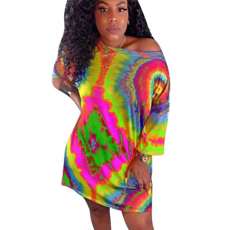 Blue Leisure Wear Colorful Print Loose T Shirts Midi Dress CM570