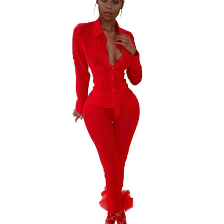 Red Mesh Shirts See Through Pants Two Pieces Sets QZ3272