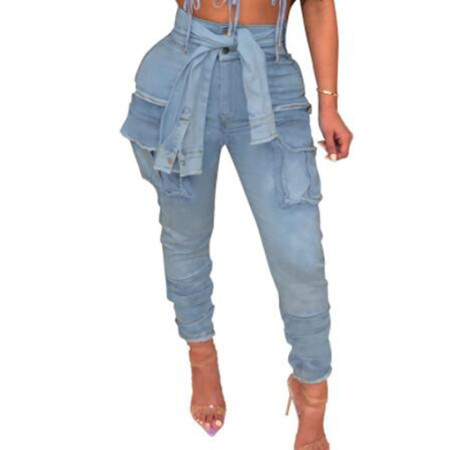 Blue Casual Street Wear Solid Pencil Jeans Q255