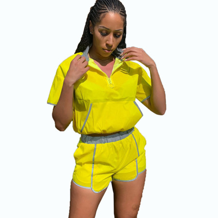 Yellow Reflective Two Pieces Sets Outfits Shorts MDO9047