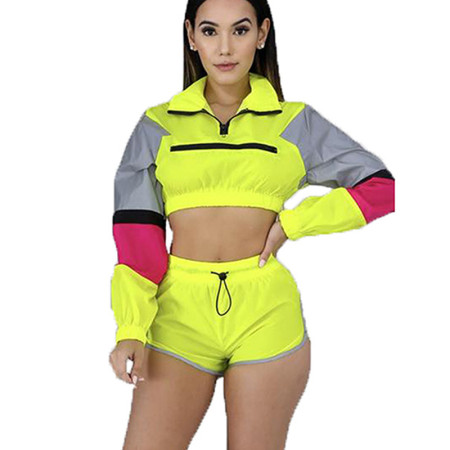 Yellow Patchwork Long Sleeves Crop Tops Shorts Sets MDO9045