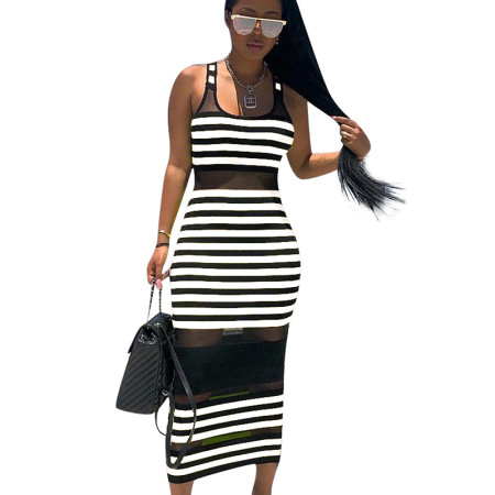 White Striped Mesh Tank Ankle Bodycon Dress ED8093