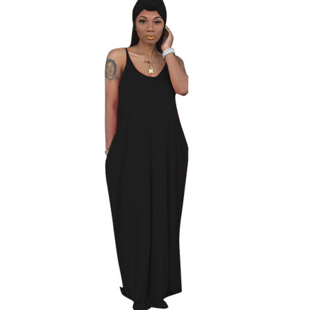 Black Strapy Solid Long Maxi Loose Style Dress TRS949