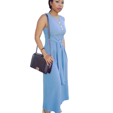 Light Blue Sleeveless Wide Leg Pants Loose Jumpsuits LS6093