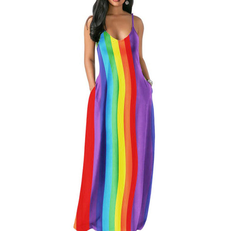 Colorful Striped Print Strapy Maxi Beach Long Dress MA6202
