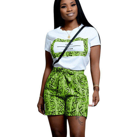 Green Casual T Shirts Print Shorts Two Pieces Sets CM598