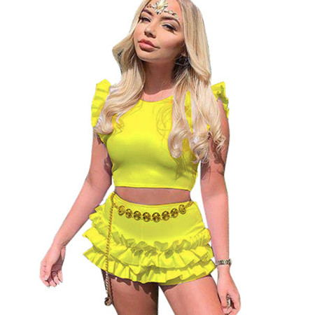 Yellow Ruffle Zipper Tops Mini Shorts Casual Two Pieces Sets N9135