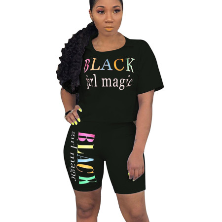 Black Letter Print Casual T Shirts Midi Shorts Summer Sets N9136