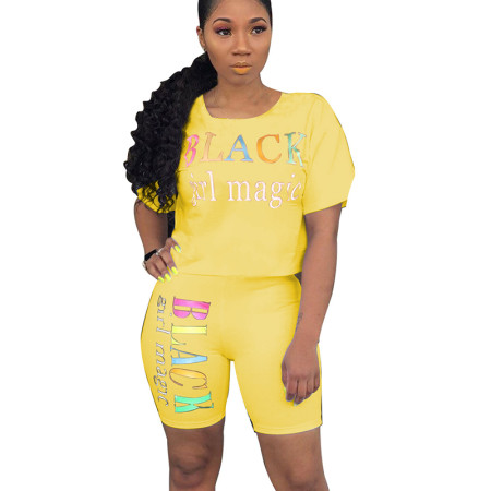 Yellow Letter Print Casual T Shirts Midi Shorts Summer Sets N9136