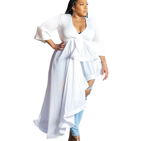 White Stylish Irregular Splicing V Collar Oversize Dress For Women SMR9501