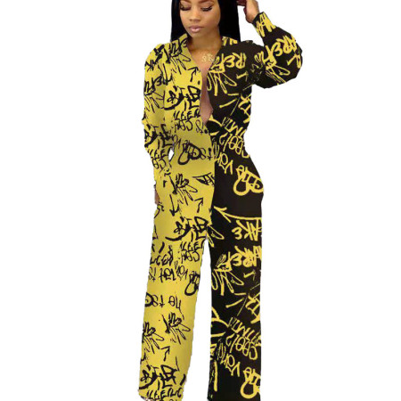 Yellow New Design Printing Cardigan High Waist Straight Jumpsuit MN8069