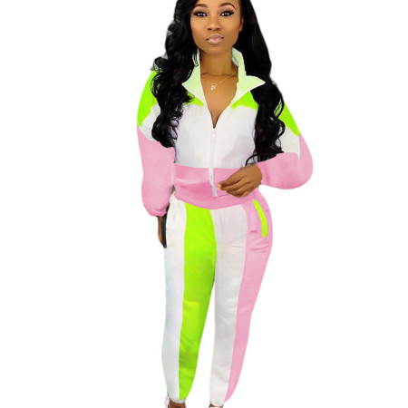 Pink Side stripe long loose sleeve sport pant set SN3717SN3717