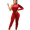 Red Velvet Solid Mock Neck Single Sleeve Bodycon Club Jumpsuit 2pcs SH7160