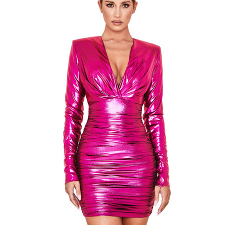 Peach Shiny Plunging Neck Waist Tied & Wrap Bodycon Dress GL6212