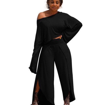 Black Asymmertrical Trim Drop Sleeve Blouse & Loose Pants A8524