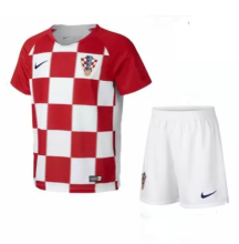 2018 Croatia home red and white Kids soccer jersey