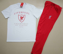 2019 Liverpool White Kids Sweater Tracksuit