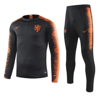 2019/20  Netherlands Black Round Collar Sweater Tracksuit