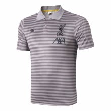 2019/20 Liverpool Light Grey Stripe Polo Short Jersey
