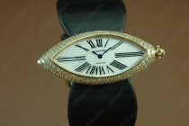 カルティエCartier Jewellery Ladies YG/Black Satin Diamonds Baignoire Eyeクオーツ