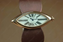 カルティエCartier Jewellery Ladies RG Case White Dial Maroon Strap Baignoire Eyeクオーツ