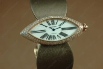 カルティエCartier Jewellery Ladies YG/Brown Satin Diamonds Baignoire Eyeクオーツ