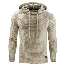 Male Long Sleeve Solid Color Hooded Sweatshirt