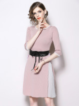 Fashion Crew Neck Colorblock Tie-wrap Knitted Dress