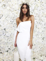 Boutique Euro Style Sexy Boat Neck Strapless Dress