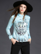 Flower Printed Turndown Neck Woman Blouse in Light Blue - Selerit