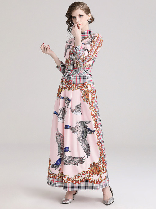 Stylish Printing Turndown Collar Maxi Dresses in Pink - Selerit