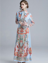 Print Turndown Collar Binding Bow Retro Dresses in Azure - Selerit