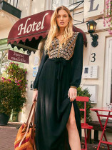 Bohemian Embroidery Split Hem Maxi Dresses in Black - Selerit
