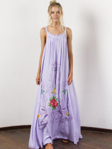 Bohemian Embroidery Straps Maxi Dresses in White/Purple - Selerit