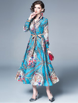 Vintage Spread Neck Printed Binding Maxi Dress in Blue - Selerit