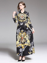 Euro Printing Button Up Pleated Maxi Dresses in Black - Selerit
