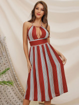 Sexy Backless Striped Halter Dress in Red - Selerit