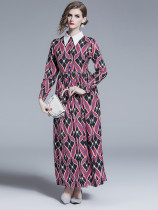 Turndown Collar Printed Button Up Maxi Dress in Black - Selerit