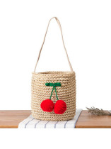 Fashion Hot Sale Manual Ornaments Straw Bags in Black/Red - Selerit