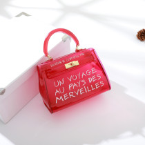 Fashion Bright Color Letter Transparent Mini Handbag - Selerit